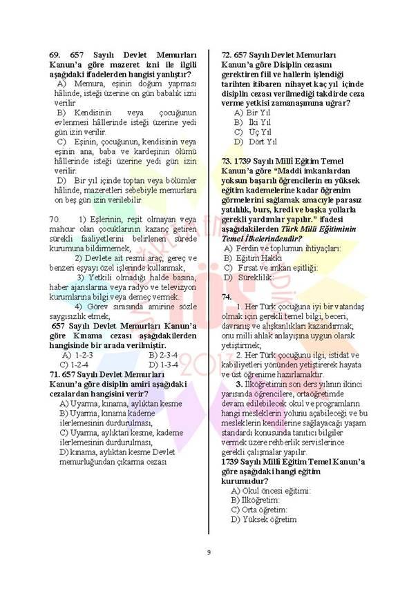 Müdür Yardımcılığı Deneme Sınavı 1 - 2016 9