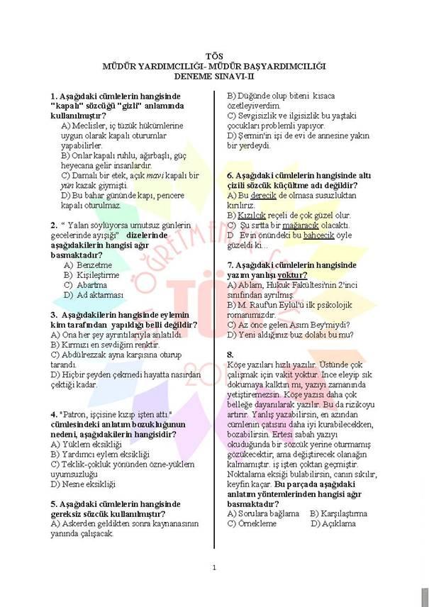 Müdür Yardımcılığı Deneme Sınavı - 2 1
