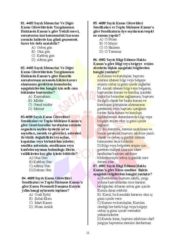 Müdür Yardımcılığı Deneme Sınavı - 2 11
