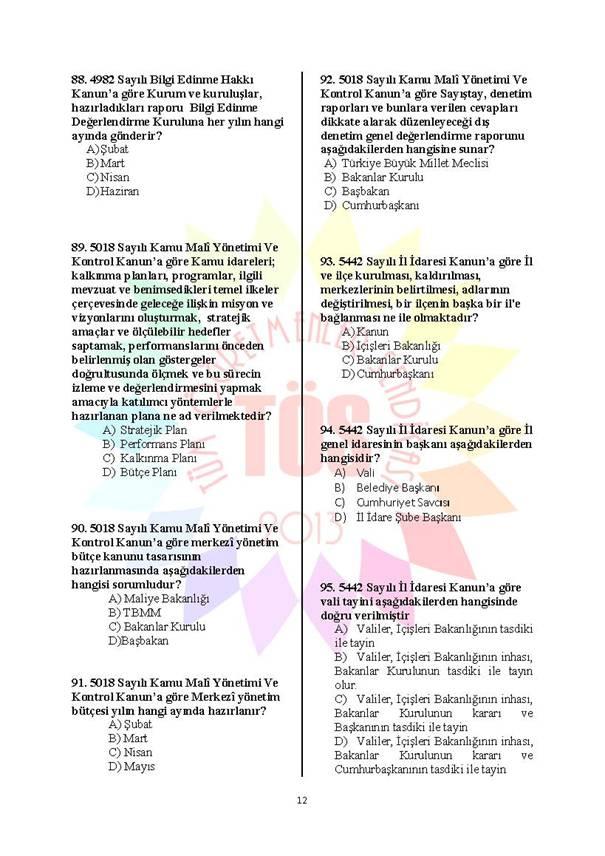 Müdür Yardımcılığı Deneme Sınavı - 2 12