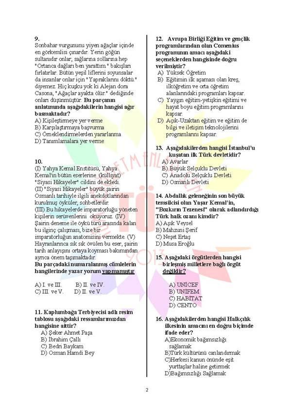 Müdür Yardımcılığı Deneme Sınavı - 2 2