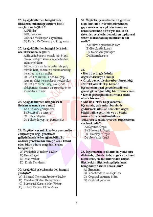 Müdür Yardımcılığı Deneme Sınavı - 2 4