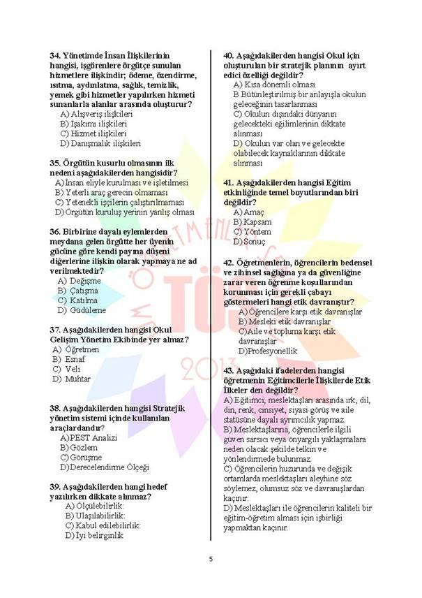 Müdür Yardımcılığı Deneme Sınavı - 2 5
