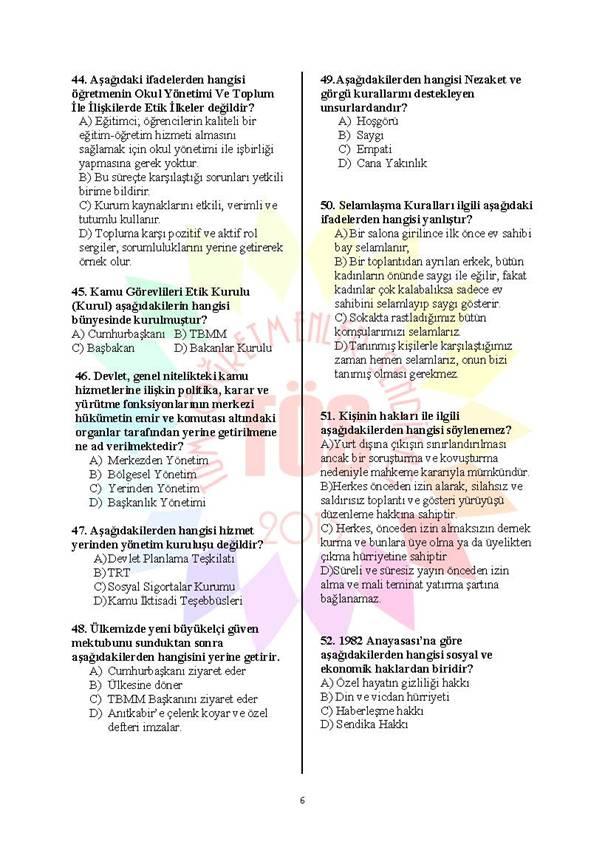 Müdür Yardımcılığı Deneme Sınavı - 2 6