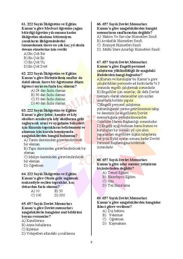 Müdür Yardımcılığı Deneme Sınavı - 2 8