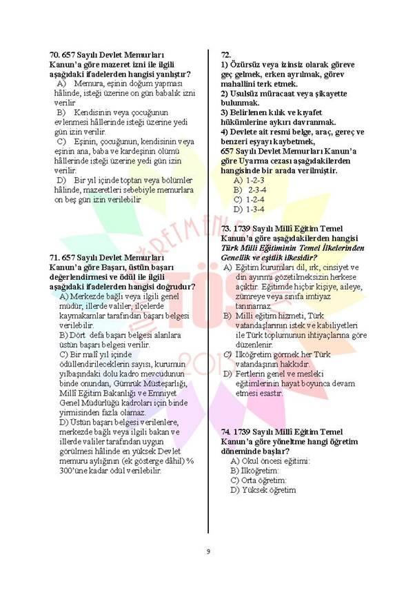 Müdür Yardımcılığı Deneme Sınavı - 2 9