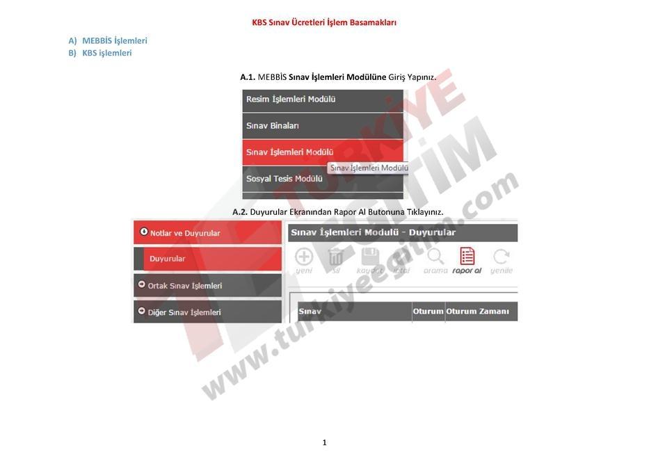KBS Sınav Ücretleri İşlem Basamakları 1