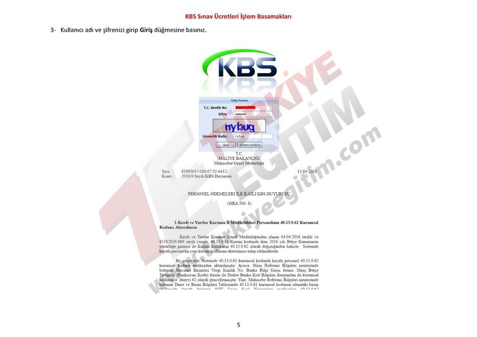 KBS Sınav Ücretleri İşlem Basamakları 5