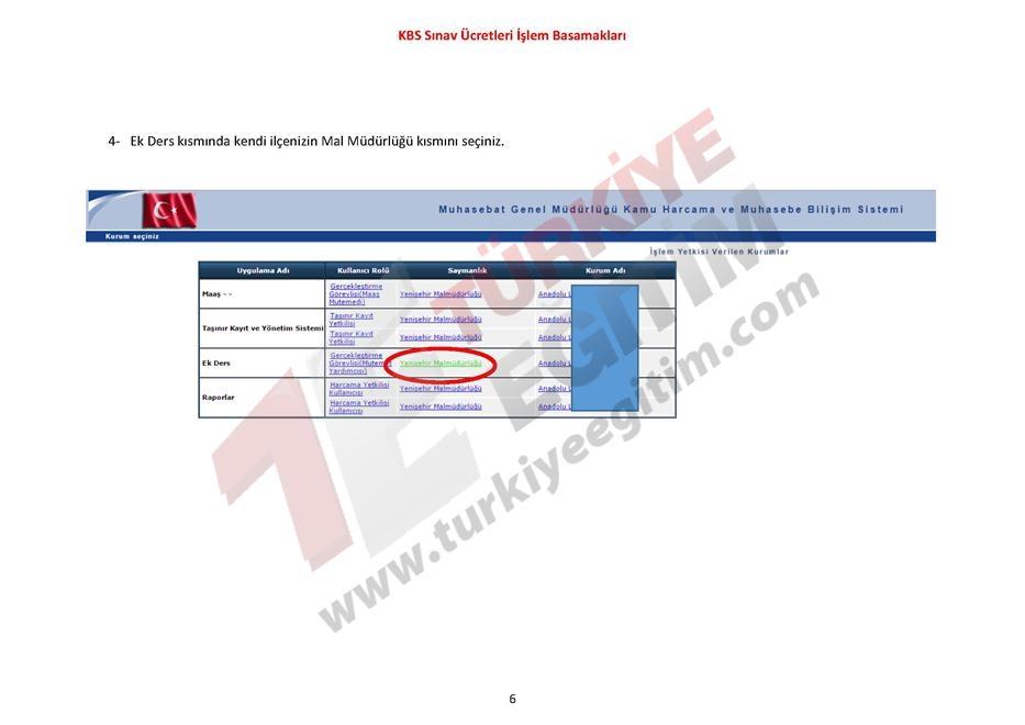 KBS Sınav Ücretleri İşlem Basamakları 6