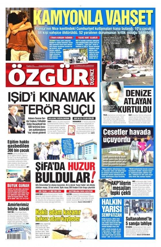 16 Temmuz 2016 gazete manşetleri 11