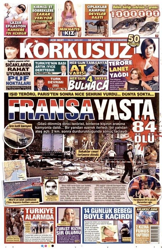 16 Temmuz 2016 gazete manşetleri 12