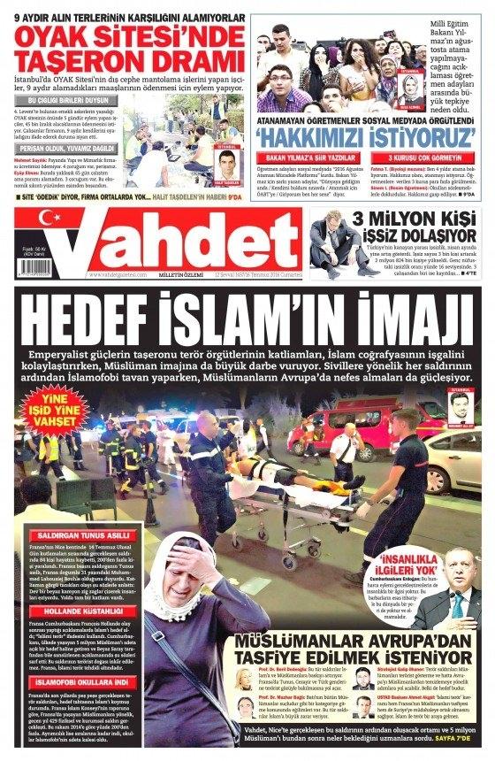 16 Temmuz 2016 gazete manşetleri 13