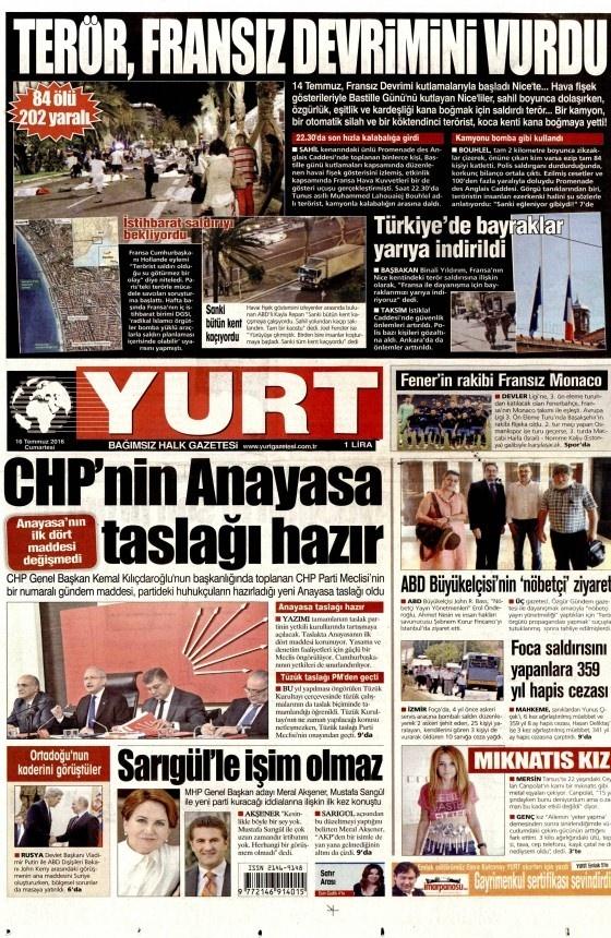 16 Temmuz 2016 gazete manşetleri 17