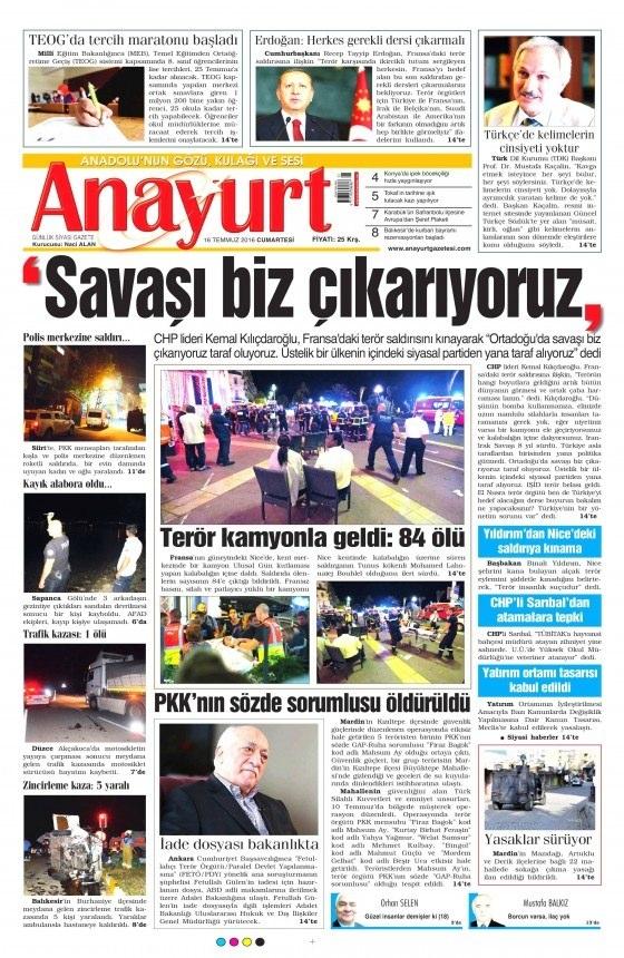 16 Temmuz 2016 gazete manşetleri 19