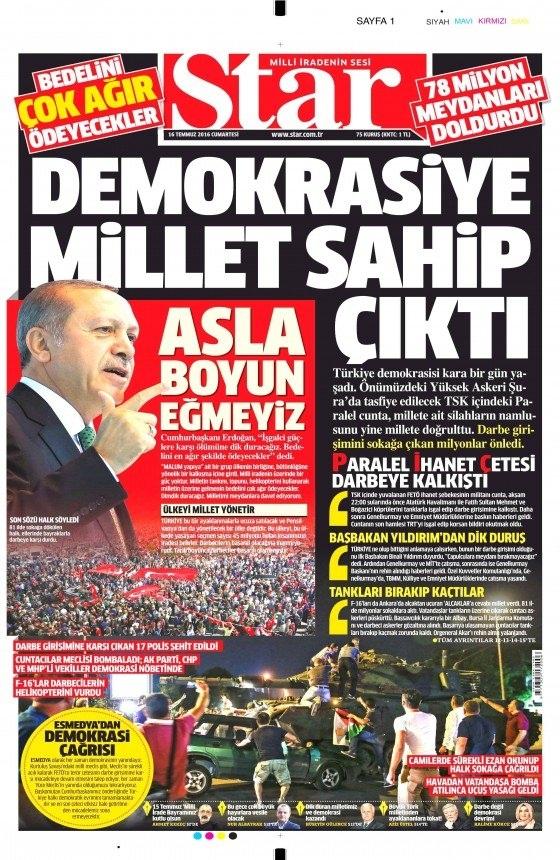16 Temmuz 2016 gazete manşetleri 2