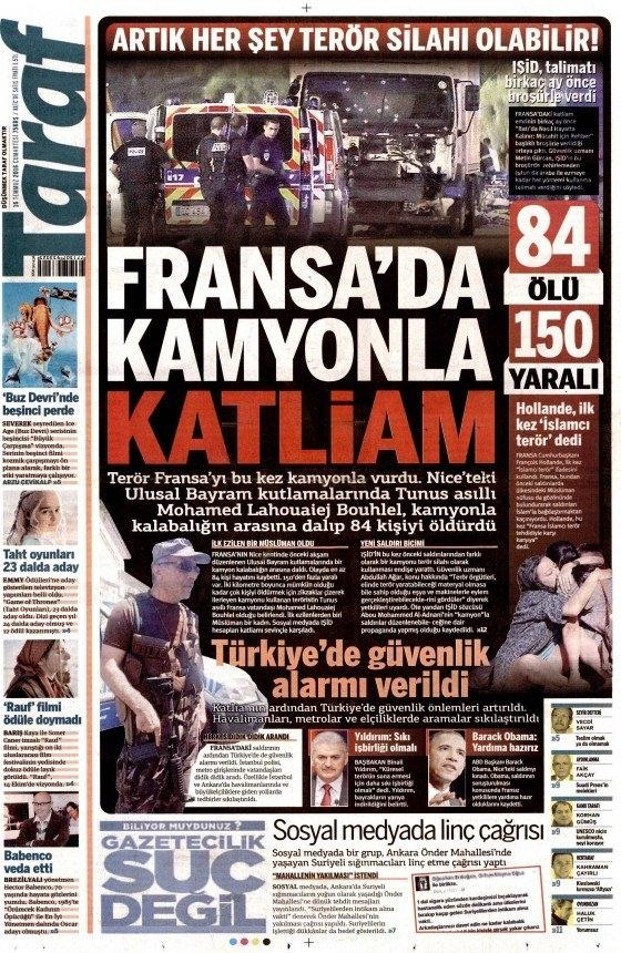 16 Temmuz 2016 gazete manşetleri 22