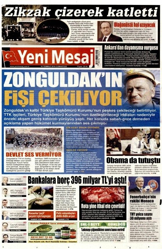 16 Temmuz 2016 gazete manşetleri 23