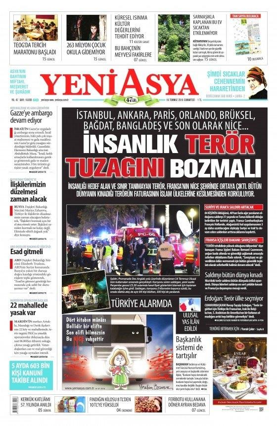 16 Temmuz 2016 gazete manşetleri 24