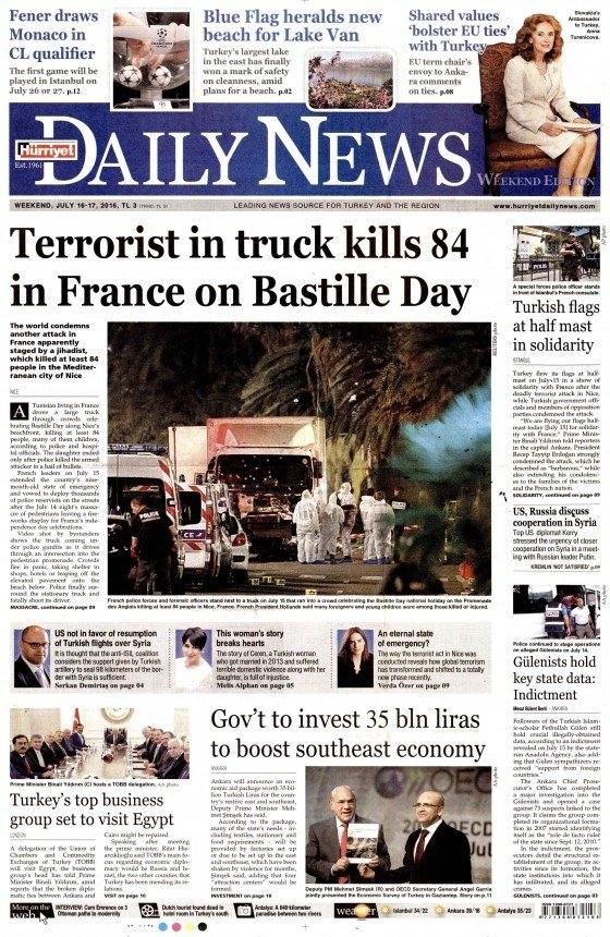 16 Temmuz 2016 gazete manşetleri 25