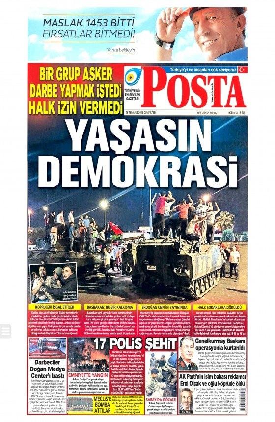 16 Temmuz 2016 gazete manşetleri 27