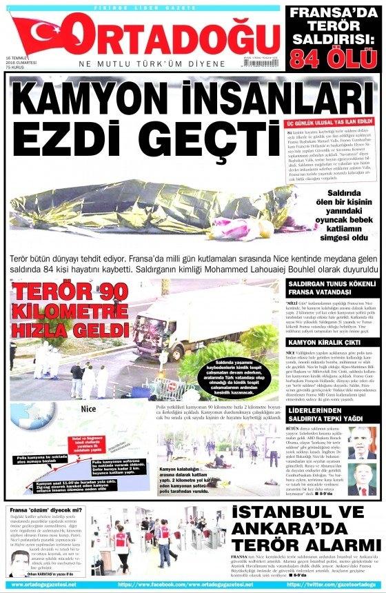 16 Temmuz 2016 gazete manşetleri 30
