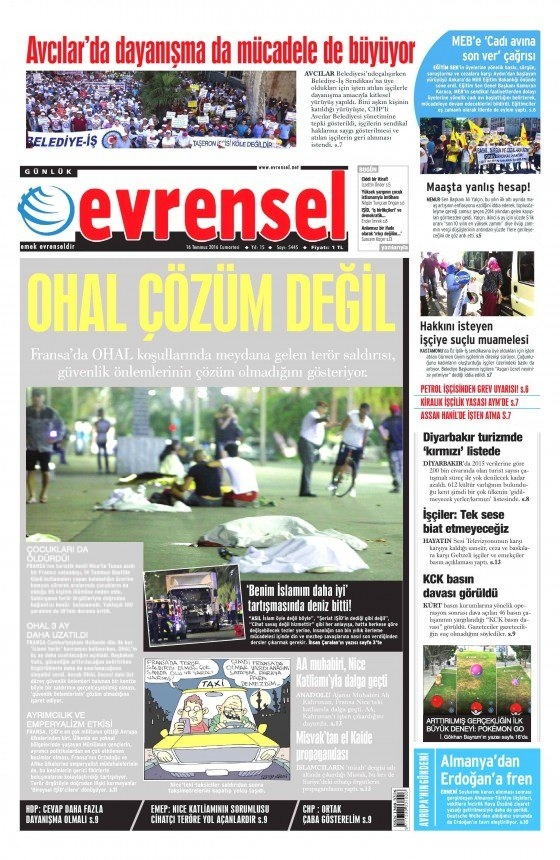 16 Temmuz 2016 gazete manşetleri 31