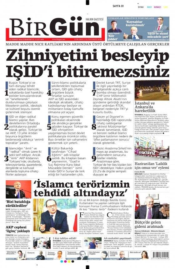 16 Temmuz 2016 gazete manşetleri 32
