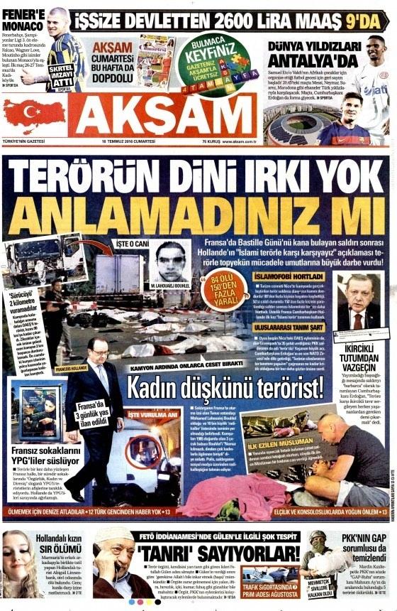 16 Temmuz 2016 gazete manşetleri 33