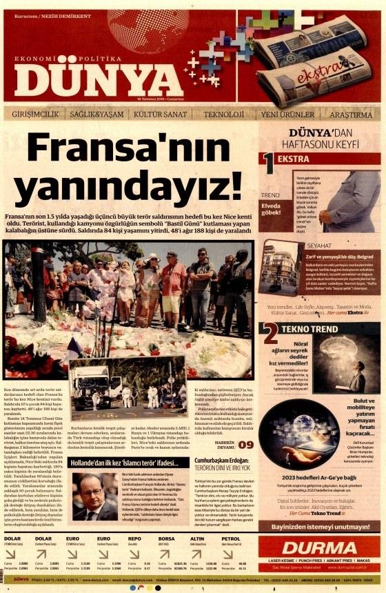 16 Temmuz 2016 gazete manşetleri 34