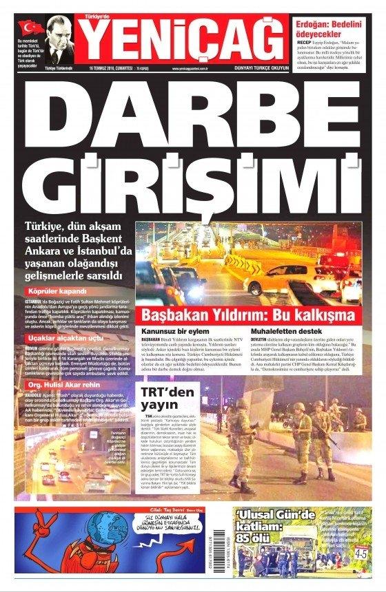 16 Temmuz 2016 gazete manşetleri 4