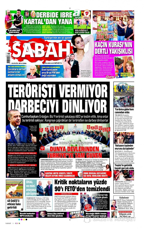 23 Eylül Cuma gazete manşetleri 1