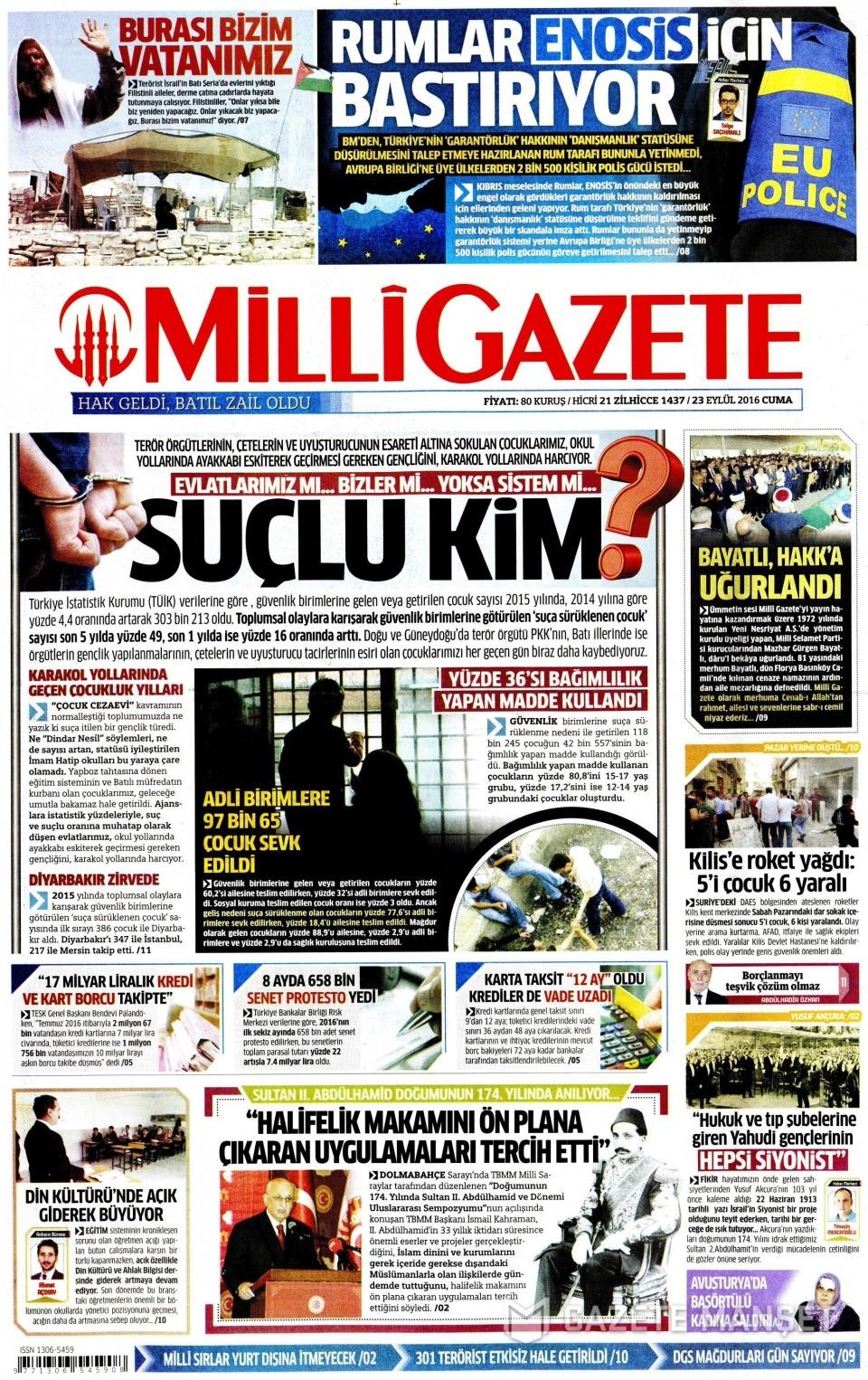 23 Eylül Cuma gazete manşetleri 10