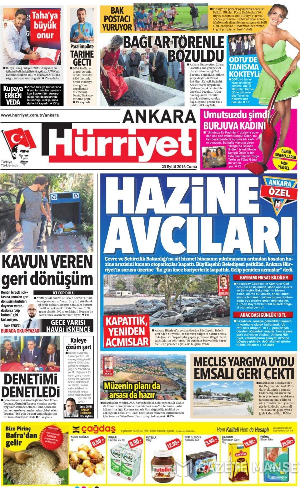 23 Eylül Cuma gazete manşetleri 11