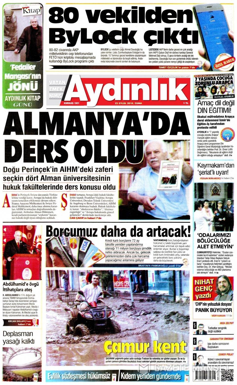 23 Eylül Cuma gazete manşetleri 13