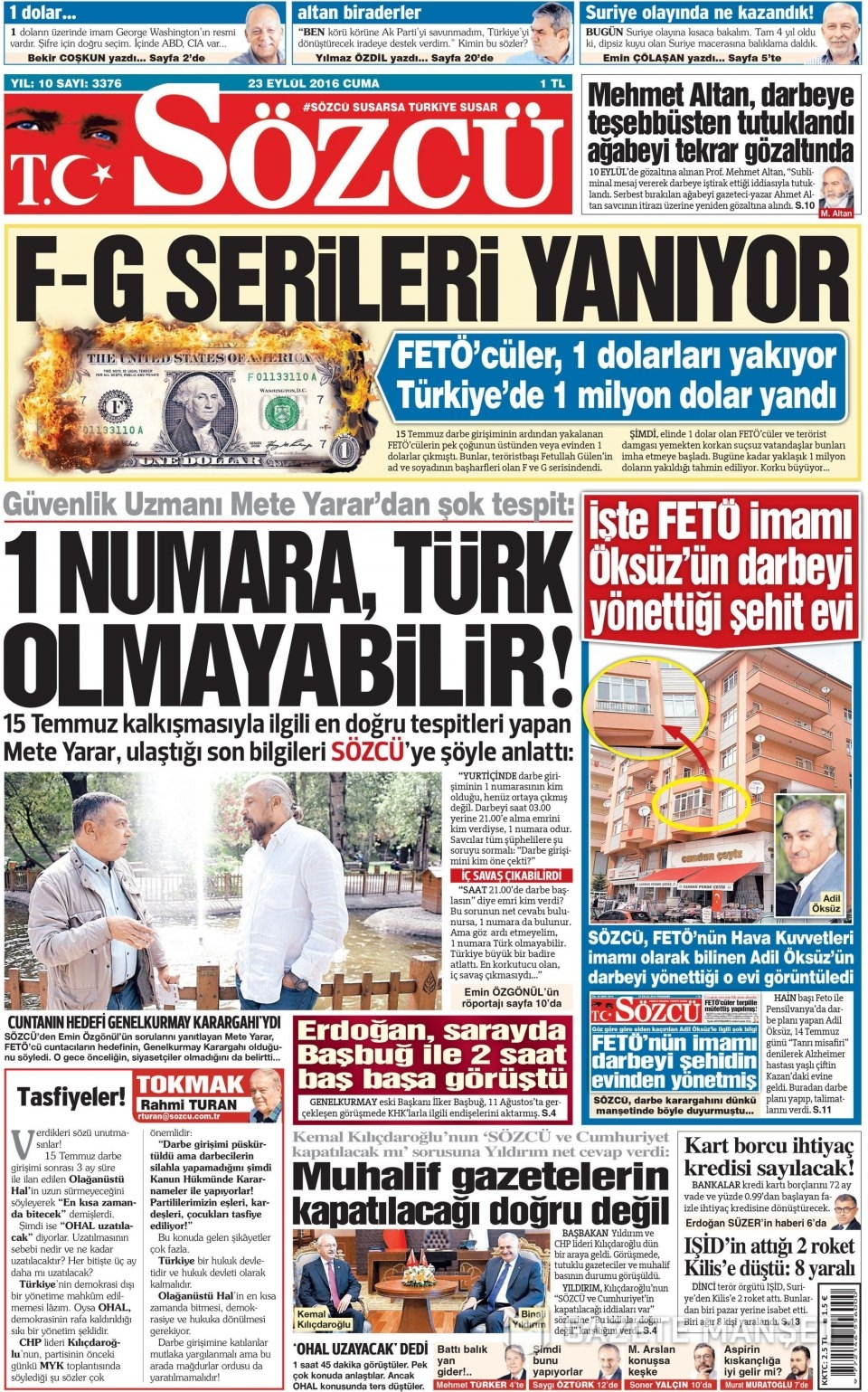 23 Eylül Cuma gazete manşetleri 15
