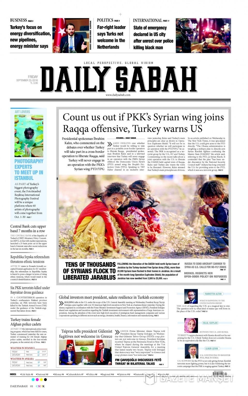 23 Eylül Cuma gazete manşetleri 16