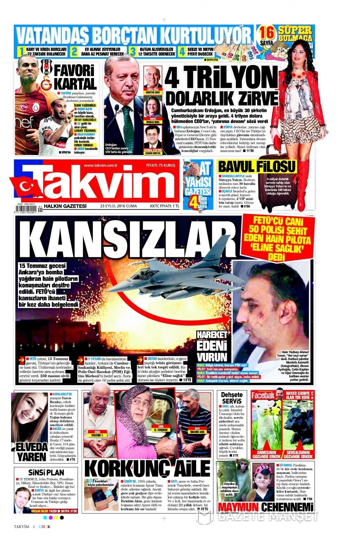 23 Eylül Cuma gazete manşetleri 17