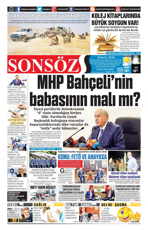 23 Eylül Cuma gazete manşetleri 18