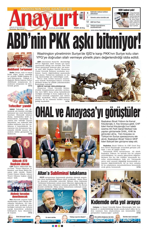 23 Eylül Cuma gazete manşetleri 19