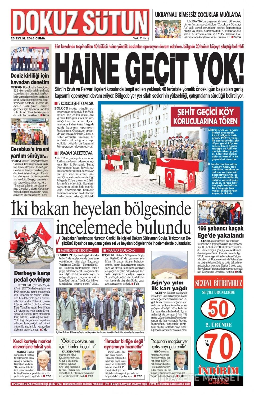23 Eylül Cuma gazete manşetleri 20