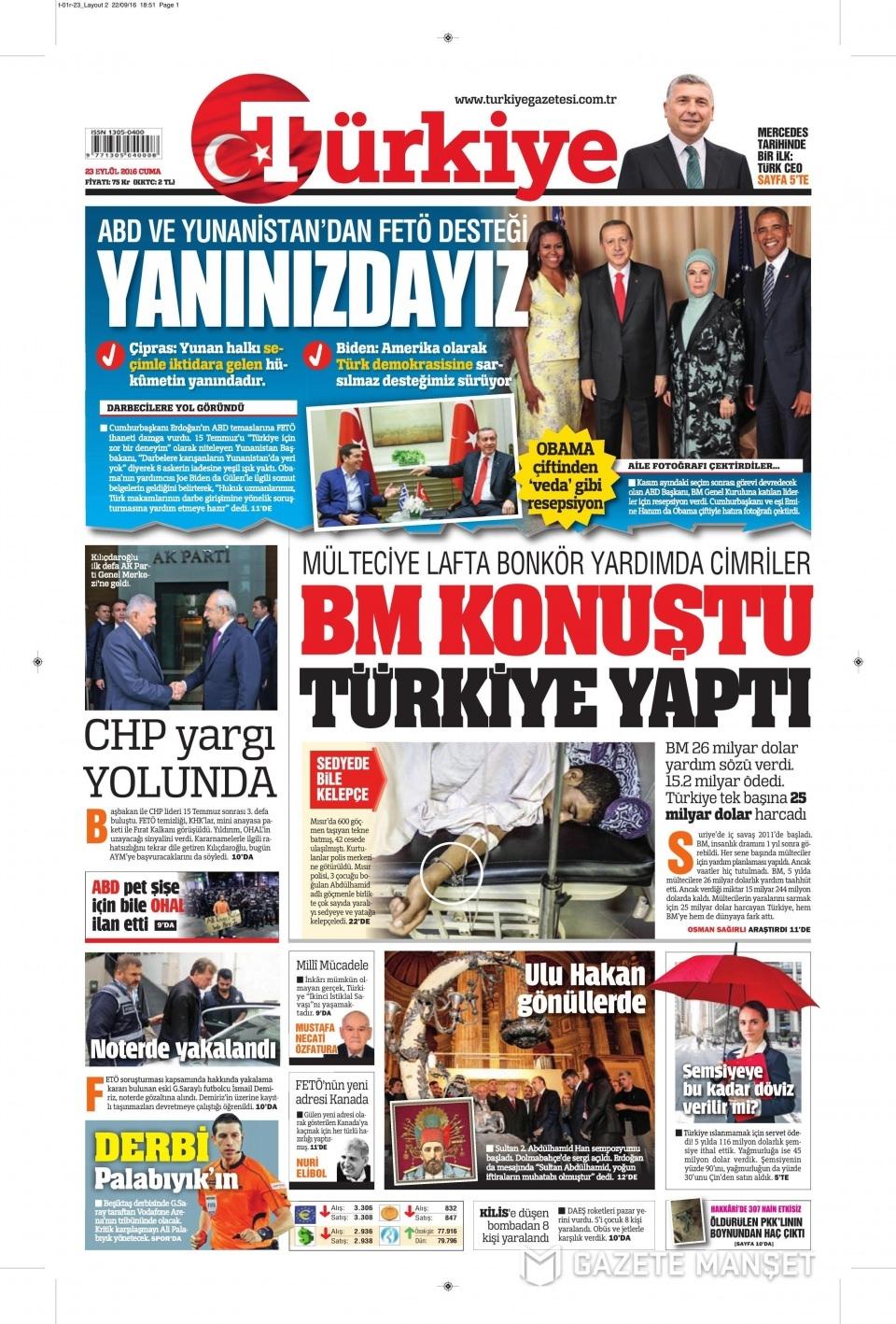 23 Eylül Cuma gazete manşetleri 23