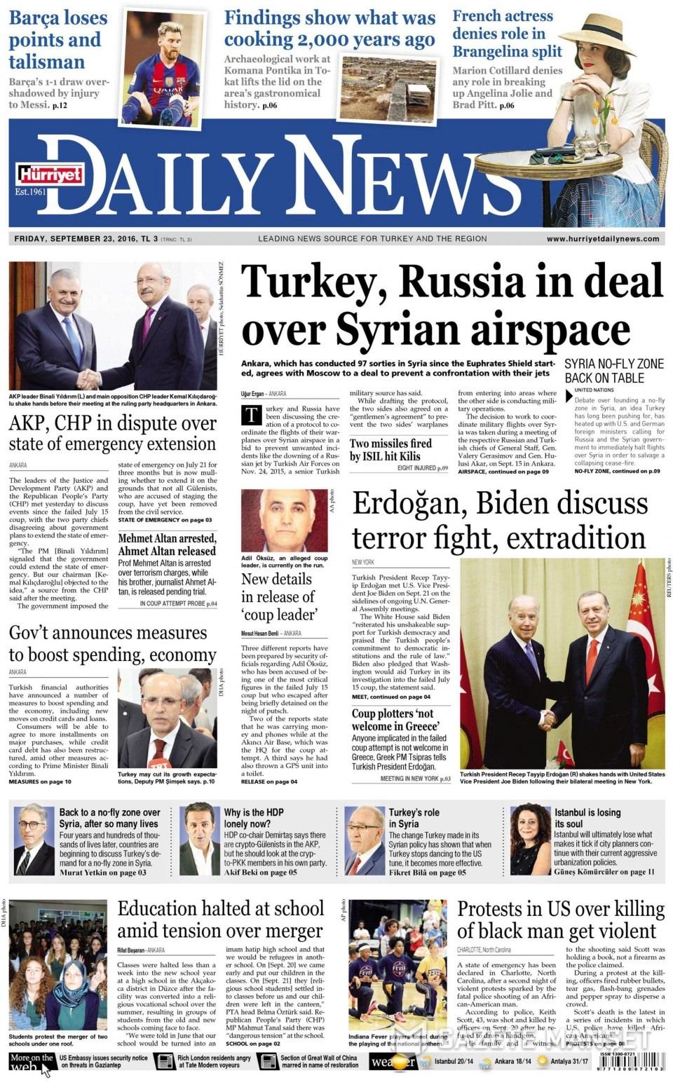 23 Eylül Cuma gazete manşetleri 24
