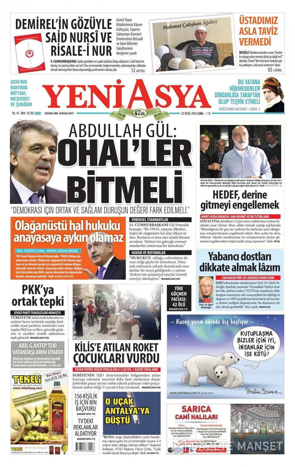 23 Eylül Cuma gazete manşetleri 25