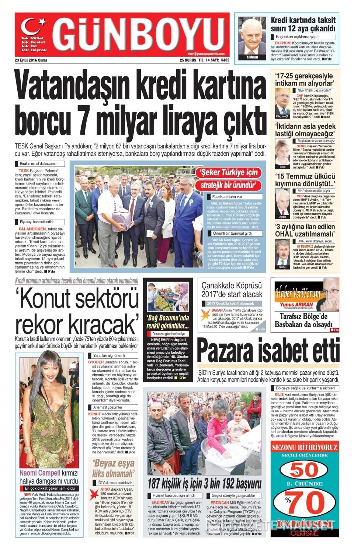 23 Eylül Cuma gazete manşetleri 26
