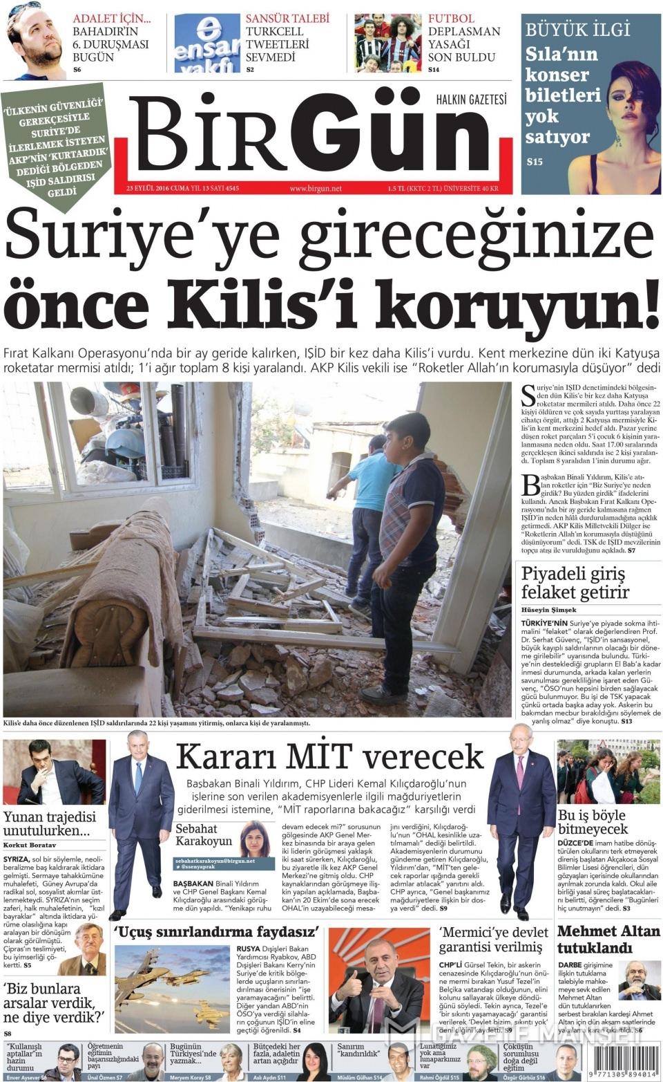 23 Eylül Cuma gazete manşetleri 27