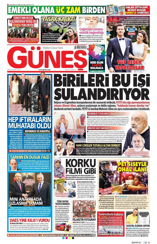23 Eylül Cuma gazete manşetleri 29