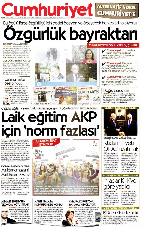 23 Eylül Cuma gazete manşetleri 8