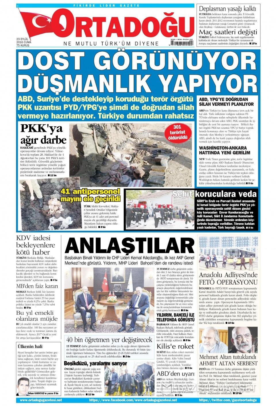 23 Eylül Cuma gazete manşetleri 9