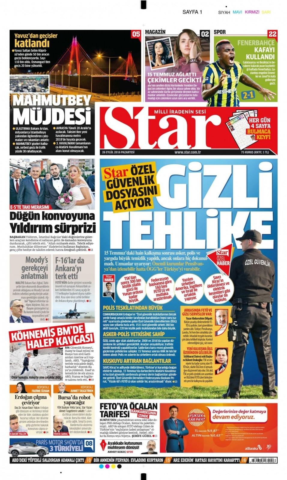 26 Eylül Pazartesi gazete manşetleri 1