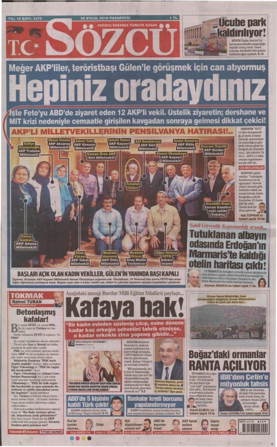 26 Eylül Pazartesi gazete manşetleri 11